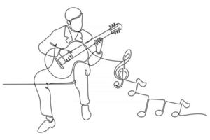 Continuous line drawing of a man playing guitar vector illustration