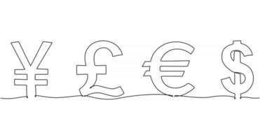 continuous line drawing currency set vector illustration