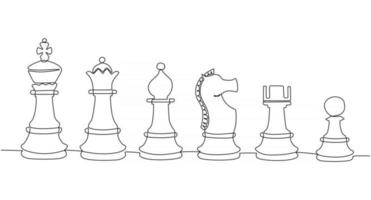 Continuous line drawing of chess figure vector illustration