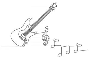 continuous line drawing of electric guitar musical instrument with instrument notes vector illustration