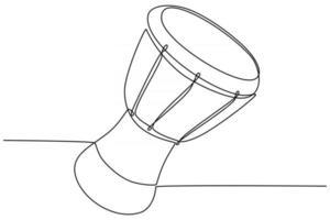 Dibujo de línea continua de una ilustración de vector de instrumento musical de tambor africano