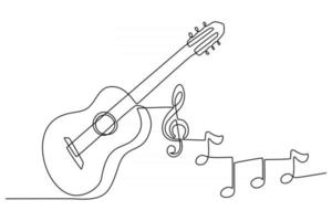 continuous line drawing of a guitar musical instrument with instrument notes vector illustration