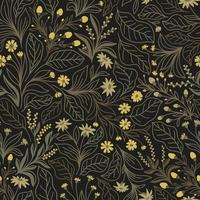 Dark brown seamless background with purple flowers and leaves vector