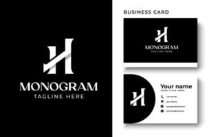 Initial Letter H Monogram Logo Template In Isolated Black Background Vector Illustration