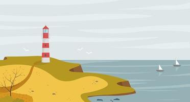 Lighthouse on seashore with sea view landscape in the autumn. Concept vector illustration in flat style.