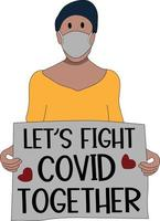 woman with message lets fight covid together flat character vector