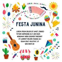 Festa Janina set of vector elements and editable text isolated on the background. Bonfire, maracas, accordion, guitar, garland, flags, characters, corn, balls, fireworks, firecracker.