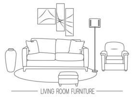 Illustration of modern living room with different furniture. Vector line template. Banner or flyer concept for furniture shop.