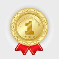Gold medal vector. Golden 1st place badge. Sport game award with red ribbon. vector