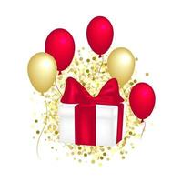 Gift box with a red bow, balloons and golden glitter. vector