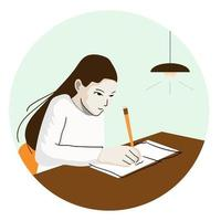 Illustration of female student writing on a book with a pencil in home in flat design. vector
