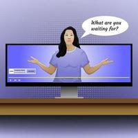 illustration of advertising on social media with woman and monitor on the table vector