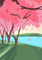 Blooming sakura on river bank. Nature landscape in vertical orientation. vector