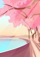 Blooming sakura on lake bank. Nature landscape in vertical orientation. vector