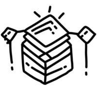 activos comerciales diseño de icono dibujado a mano, contorno negro, icono de vector. vector