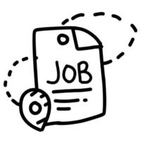 Business jobs hand drawn icon design, outline black, vector icon.
