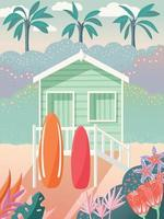 Bungalow on a beach with surfboards on the deck. Palm trees in the background and floral decoration. Summer house on the sand, exotic tropical scene. Colorful vector illustration.