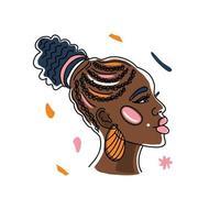 Retrato de mujer africana con un hermoso peinado, derechos humanos, lucha contra el racismo. arte lineal, estilo minimalista. Ilustración del mes de la historia negra. vector