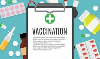 Vaccination concept flat background. Medical awareness flu, polio influenza poster. Vector Illustration