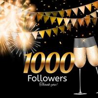 1000 Followers. Thank you. Vector Illustration Background