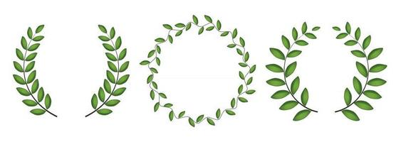 Laurel wreath silhouette collection set isolated on white background. Vector Illustration
