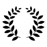 Laurel wreath silhouette isolated on white background. Vector Illustration