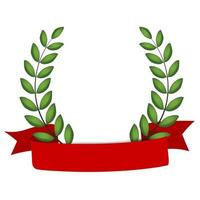 Laurel wreath with red ribbon isolated on white background. Vector Illustration