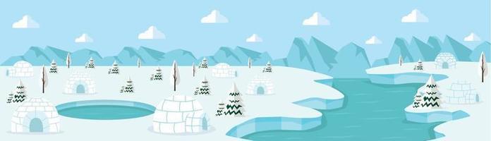 north pole arctic Landscape concept vector