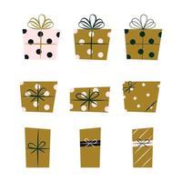 Set of Christmas Presents Flat Vector Illustrations