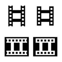 Filmstrip icon set in solid style vector