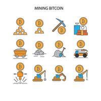 Mining bitcoin icon set vector