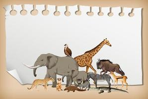 Group of wild african animal on paper vector