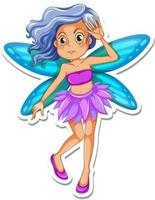 Beautiful pixie cartoon character sticker vector