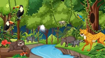 Forest at night landscape scene with different wild animals vector