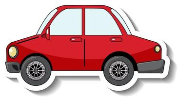 Sticker template with a red car isolated vector