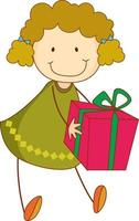 A doodle kid holding a gift box cartoon character isolated vector