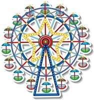 Sticker template with Circus Ferris Wheel in cartoon style vector