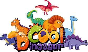 Cute dinosaurs cartoon character with cool dinosaur font banner vector