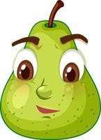 Green pear cartoon character with confused face expression on white background vector