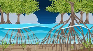Nature scene with Mangrove forest at night in cartoon style vector