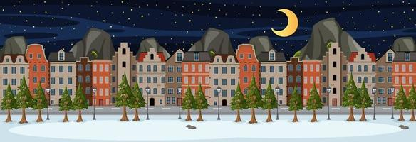 Winter horizontal scene at night time with suburban building background vector