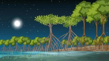 Mangrove forest landscape scene at night vector