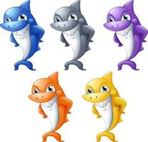 Set of many smiling cute shark cartoon character isolated on white background vector