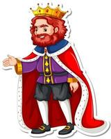 A king with red robe cartoon character sticker vector