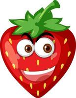 Strawberry cartoon character with happy face expression on white background vector