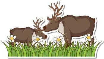 Two moose standing in grass field sticker vector