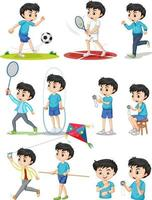 Set of boy doing different types of sports vector