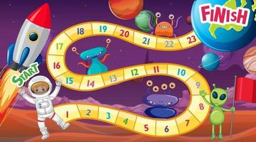 Snake and ladders game template with space theme vector