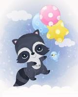 Adorable baby raccoon illustration in watercolor vector