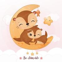 Cute mom and baby otter in watercolor illustration vector